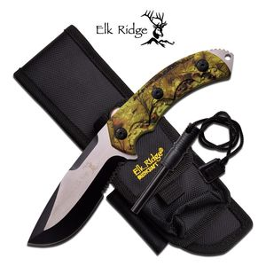 Elk Ridge Green Hunter Camo Fixed-Blade Survival Knife w/ Fire Starter