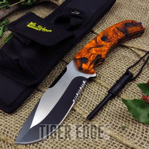 Elk Ridge Orange Hunter Camo Fixed-Blade Survival Knife w/ Fire Starter