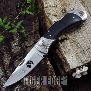 Folding Pocket Knife Elk Ridge Deer Hunter Wildlife Camping Survival Black Wood