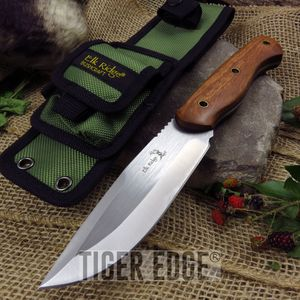 Fixed-Blade Hunting Knife Elk Ridge Full Tang Brown Wood Tactical Skinner Blade