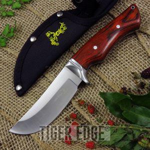 Fixed Blade Knife Elk Ridge Hunting Brown Wood Full Tang W/ Sheath Er-545Bw