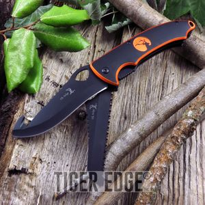 FOLDING POCKET KNIFE Elk Ridge 2 Blade Gray Camo Black Gut Hook Serrated Hunter