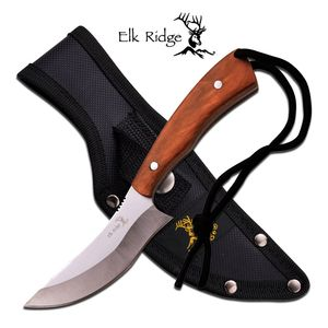 Fixed-Blade Hunting Knife Elk Ridge Full Tang Brown Wood Upswept Blade Skinning