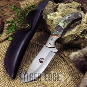 Fixed-Blade Hunting Knife Elk Ridge Gut Hook Camo Gray Skinner + Leather Sheath