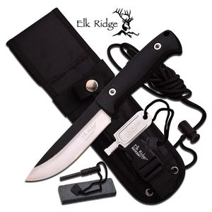 FIXED BLADE SURVIVAL KNIFE | Elk Ridge Black Fire Starter Sharpener Set ER-555BK
