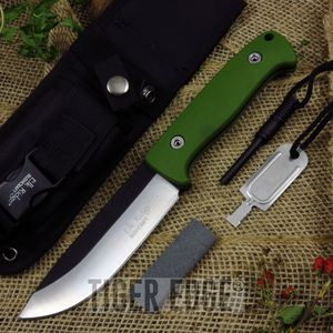 Fixed Blade Survival Knife | Elk Ridge Green Fire Starter Sharpener Set Er-555Gn