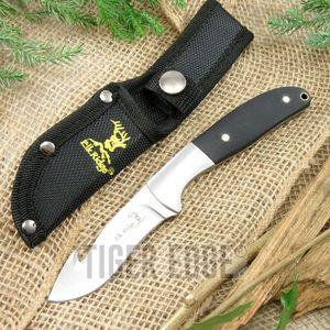 Fixed-Blade Hunting Knife Elk Ridge Black Wood Gut Hook Blade Skinner + Sheath