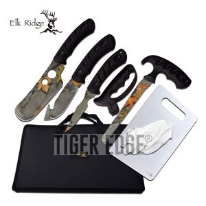 Hunting Knife Set | Elk Ridge 8-Pc. Camo Blade Skinning Kit + Case, Sharpener