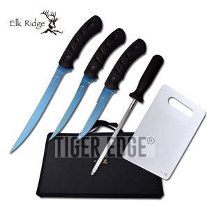Hunting Knife Set Elk Ridge 5-Pc. Blue Titanium Fishing Fillet Blade Kit + Case