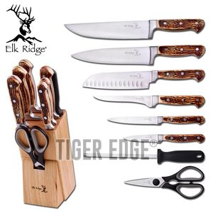 Kitchen Knife Set | Elk Ridge 9 Piece Jigged Bone Style + Wood Block