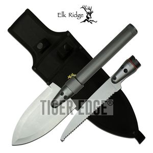 Survival Knife Kit Spear and Saw Blade Tool + Flashlight, Nylon Sheath Elk Ridge