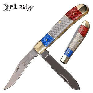 Trapper Folding Knife | Elk Ridge 2-Blade C-TEK Handle American Red White Blue