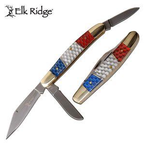 Stockman Folding Knife | Elk Ridge 3-Blade C-TEK Handle American Red White Blue