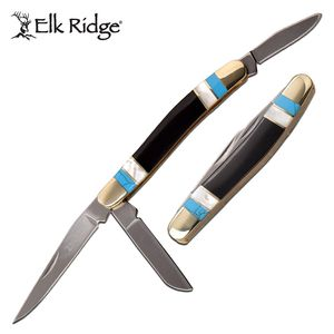 Folding Knife | Elk Ridge Classic Black Horn, Pearl, Turquoise Stockman 3 Blades