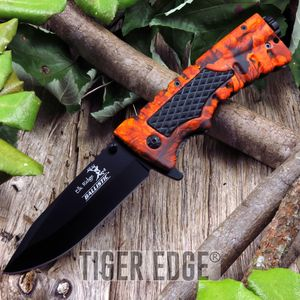 Spring-Assist Folding Pocket Knife Orange Camo Hunter Fire Starter Survival Edc