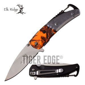 Spring-Assist Folding Knife | Elk Ridge Orange Camo Led Carabiner Bottle Opener