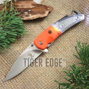 Spring-Assist Folding Knife | Elk Ridge Orange Led Light Carabiner Bottle Opener