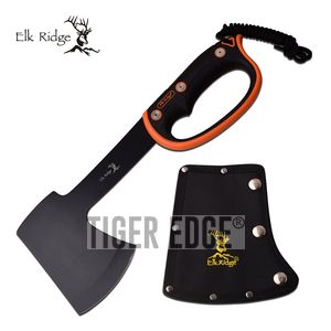 HATCHET | Elk Ridge Black Orange Full Tang Camping Survival Hand Axe + Sheath