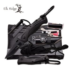 SURVIVAL KIT | Elk Ridge Black Set - Knife, Fire Starter, Whistle, Compass, Cord