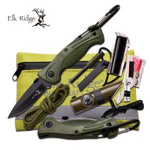 SURVIVAL KIT | Elk Ridge Green Set - Knife, Fire Starter, Whistle, Compass, Cord