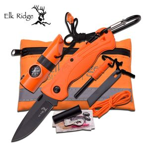 Elk Ridge High-Visibility Orange Emergency Rescue Knife & Survival Kit