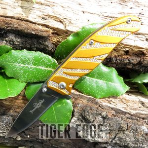 Femme Fatale Orange Rhinestone Spring-Assisted Folding Knife Women Girl