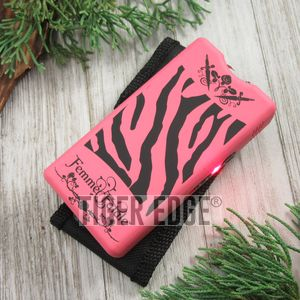 Femme Fatale Pink Stripes Women Girl Lady Stun Gun 3.5 Million Volts w/ Case