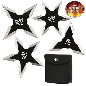 Set of Four (4) Black Silver Ninja Throwing Stars Anime Shuriken Knife Blade