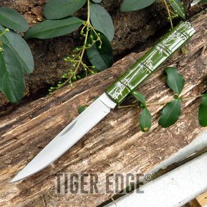 Slim Profile Stainless Steel Green Bamboo Keychain Folding Knife