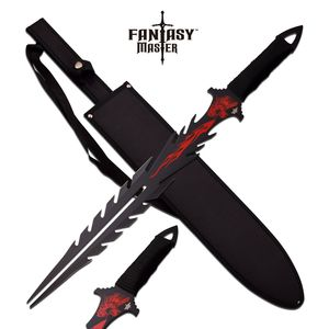 Fantasy Sword | Dragon Tongue Fork Blade Red + Black With Sheath Fm-674