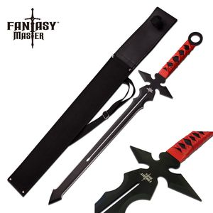 FANTASY SHORT SWORD | Black Red Gothic Christian Demon Slayer Sword FM-677