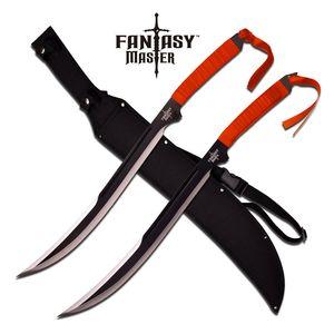 FANTASY SWORD SET | Black Full Tang Red Wrapped Shamshir 2 Piece Blade + Sheath