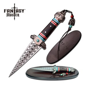Fantasy Dagger | Double Edge Tribal Aztec Ceremonial Knife Blade + Wall Plaque