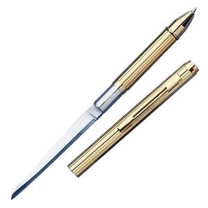 Pen Knife | Hidden Plain Blade Functional Ink Pen Letter Opener Gold