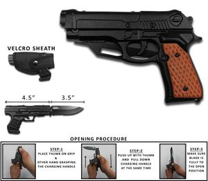 Spring-Assist Folding Knife | Black Brown Pistol Handle with Sheath GN-1103-A