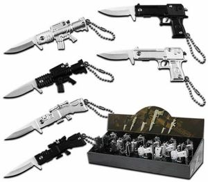 Spring-Assist Folding Keychain Knife Pop Set | 24-Pc. Military Guns Black Silver