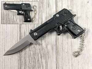 Spring-Assist Folding Keychain Knife | Mini Black Military Pistol Handgun 3