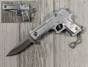 Spring-Assist Folding Keychain Knife | Mini Silver Military Pistol Handgun 3