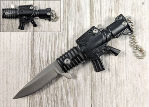 Spring-Assist Folding Keychain Knife | Mini Black Military Assault Rifle 3