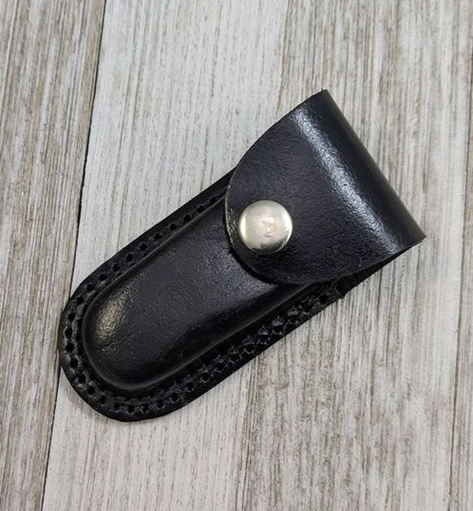 Folding Knife Sheath | Black Leather Belt Case Pouch For Folding Blades Up To 3