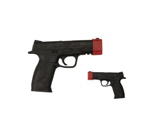 Rubber Training Gun Black Pistol Police Prop Weapon Demonstration Use Red Cap