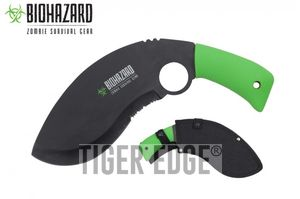 Kukri Machete Biohazard Curved Serrated Black Zombie Blade Green Handle + Sheath