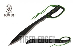 Barong Machete Buckshot Hand Guard Survival Full Tang Black Silver Blade Green