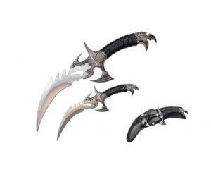 Fixed Blade Knife Set | 2-Piece Dragon Curved Dagger Blades Mini Small H-23712