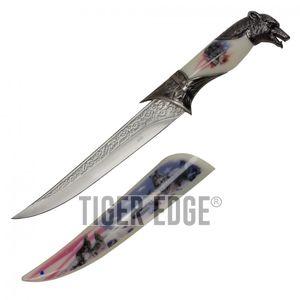 Bowie Knife | American Flag Wolf Dagger Silver 8