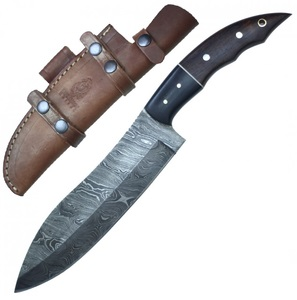Kitchen Knife | Damascus Steel Blade Full Tang Wood Handle + Leather Sheath