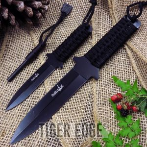 2-Pc. Black Double Edge Knife Set W/ Fire Starter