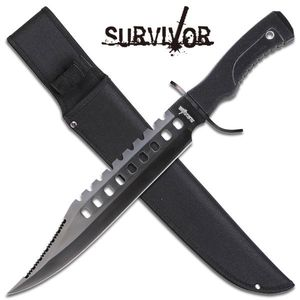 Laser Cut-Out Classic Black Bowie Hunting Fixed Blade Knife Sawback Edge