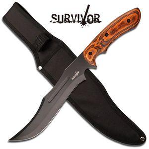 Survivor Nightmare Fixed Blade Hunting Knife Serrated Work Machete