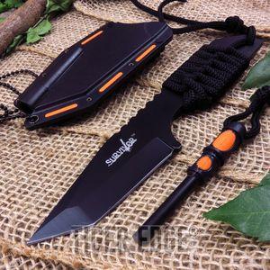 Mtech Multifunction Black Neck Knife With Firestarter Fixed Blade Edc